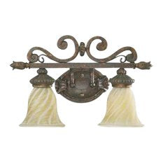 Quorum International 5280-2899 Dauphine Collection Two Light Bath Wall Vanity Fixture Energy Saving Fluorescent in Byzantine Finish