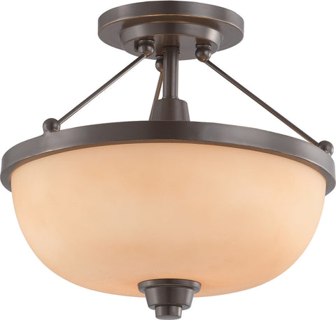 Nuvo Lighting 60-4208 Helium Collection Two Light Semi Flush Ceiling Mount in Vintage Bronze Finish - Quality Discount Lighting