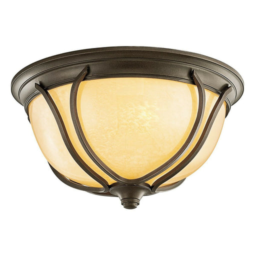 Kichler Lighting 449144 OZFL Pasadena Collection Two Light LED Outdoor Exterior Ceiling Mount in Olde Bronze Finish