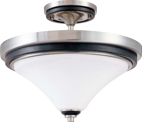 Nuvo Lighting 60-1747 Keen Collection Two Light Semi Flush Ceiling Mount in Brushed Nickel Finish - Quality Discount Lighting