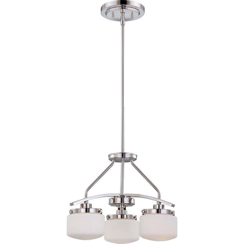 Nuvo Lighting 60-5027 Austin Collection Three Light Hanging Pendant Chandelier in Polished Nickel Finish - Quality Discount Lighting