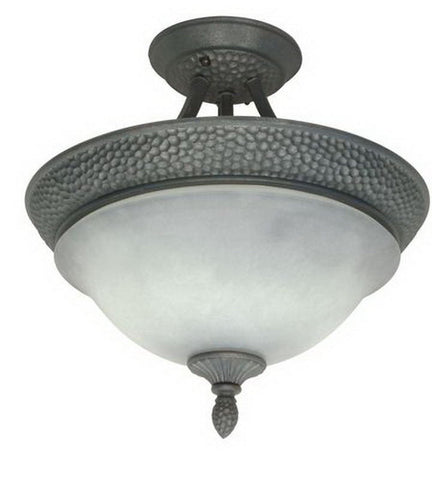 Nuvo Lighting 60-1057 Nottingham Collection 2 Light Semi Flush Ceiling in Purnice Stone Finish - Quality Discount Lighting