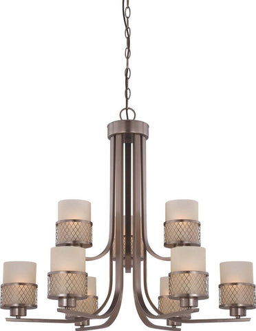 Nuvo Lighting 60-4789 Fusion Collection Nine Light Hanging Chandelier in Hazel Bronze Finish - Quality Discount Lighting