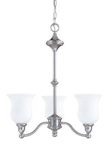 Nuvo Lighting 60-2556 Glenwood Collection Three Light Hanging Energy Efficient Fluorescent Hanging Chandelier in Brushed Nickel Finish - Quality Discount Lighting