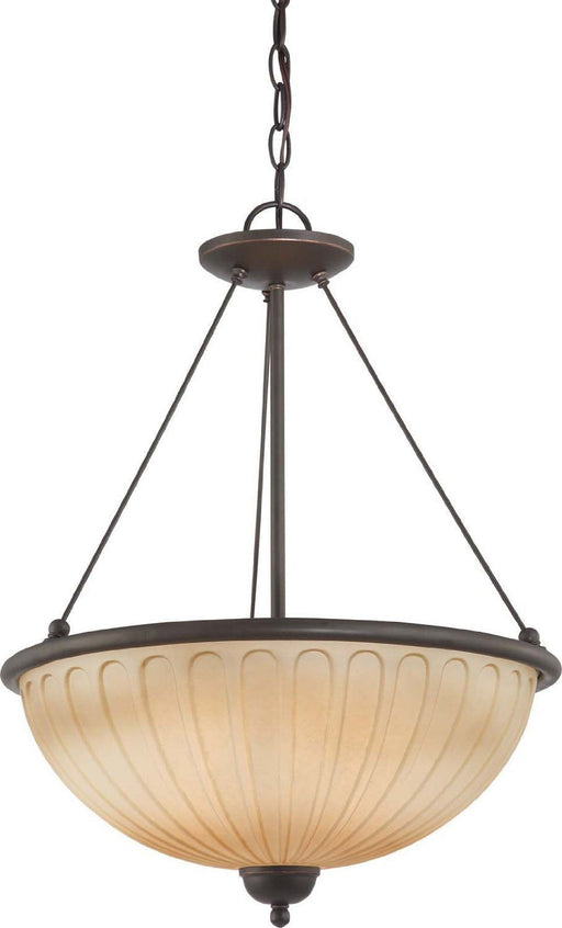 Nuvo Lighting 60-4227 Carousel CollectionThree Light Hanging Pendant Chandelier in Sudbury Bronze Finish - Quality Discount Lighting
