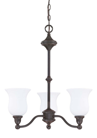Nuvo Lighting 60-2426 Glenwood Collection Three Light Energy Star Rated Fluorescent GU24 Hanging Chandelier in Sudbury Bronze Finish - Quality Discount Lighting