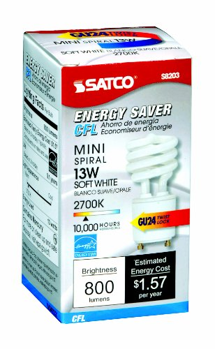 Satco Products S8203 Energy Saver 13 Watt GU24 Twist and Lock Bulbs - 24 Pak