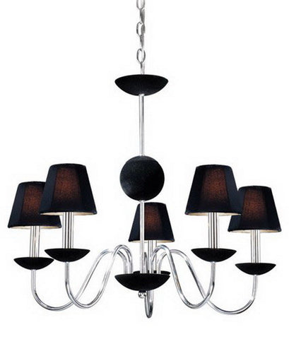 Vaxcel Lighting MACHU005 CH Five Light Hanging Chandelier in Polished Chrome Finish - Quality Discount Lighting