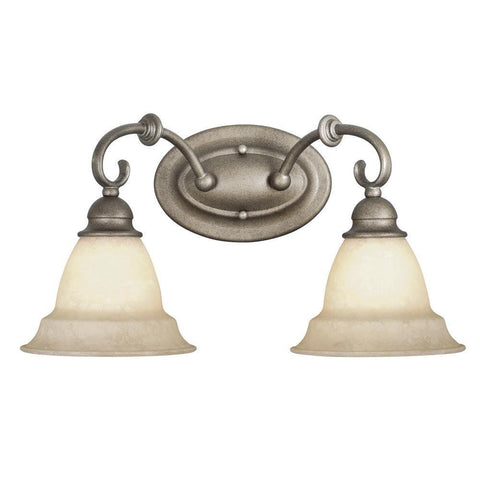 Vaxcel Lighting OMVLD002 BS Two Light Vanity Bath Wall Fixture in Bronze Stone Finish - Quality Discount Lighting