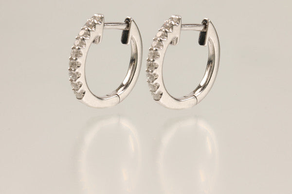 14KT White Gold Diamond Hoop Earring