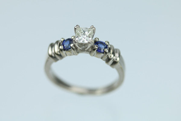 14kt White Gold Princess Cut Diamond and Sapphire Ring