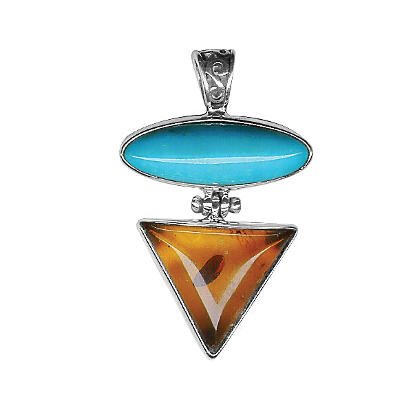 Turquoise & Amber Sterling Silver Pendant