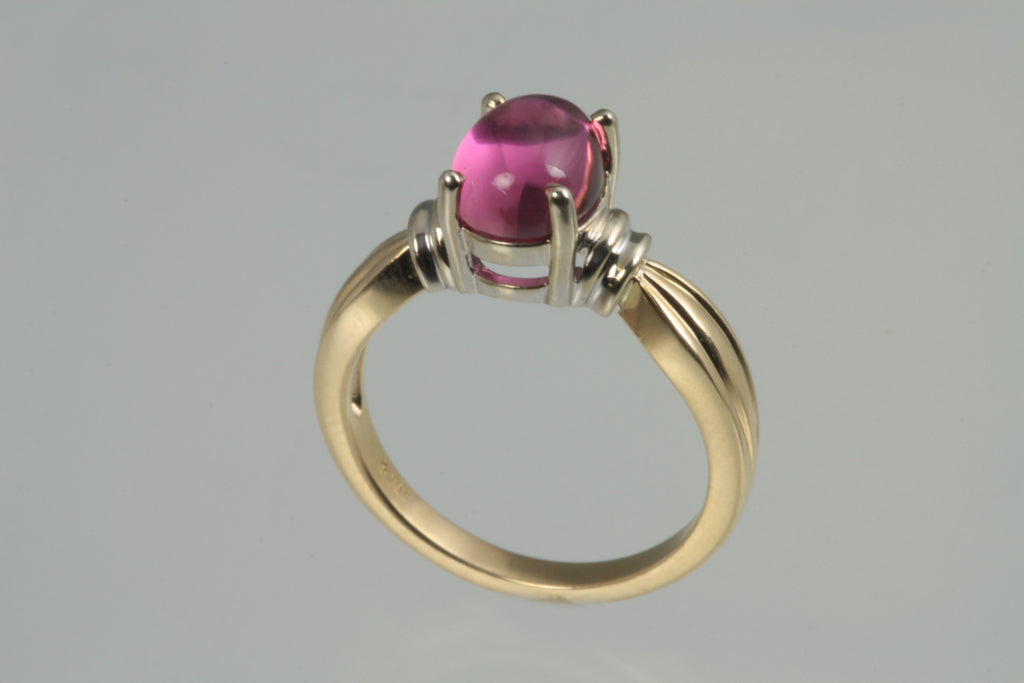 Pink Tourmaline Cabachon 14kt Gold Two Tone Ring