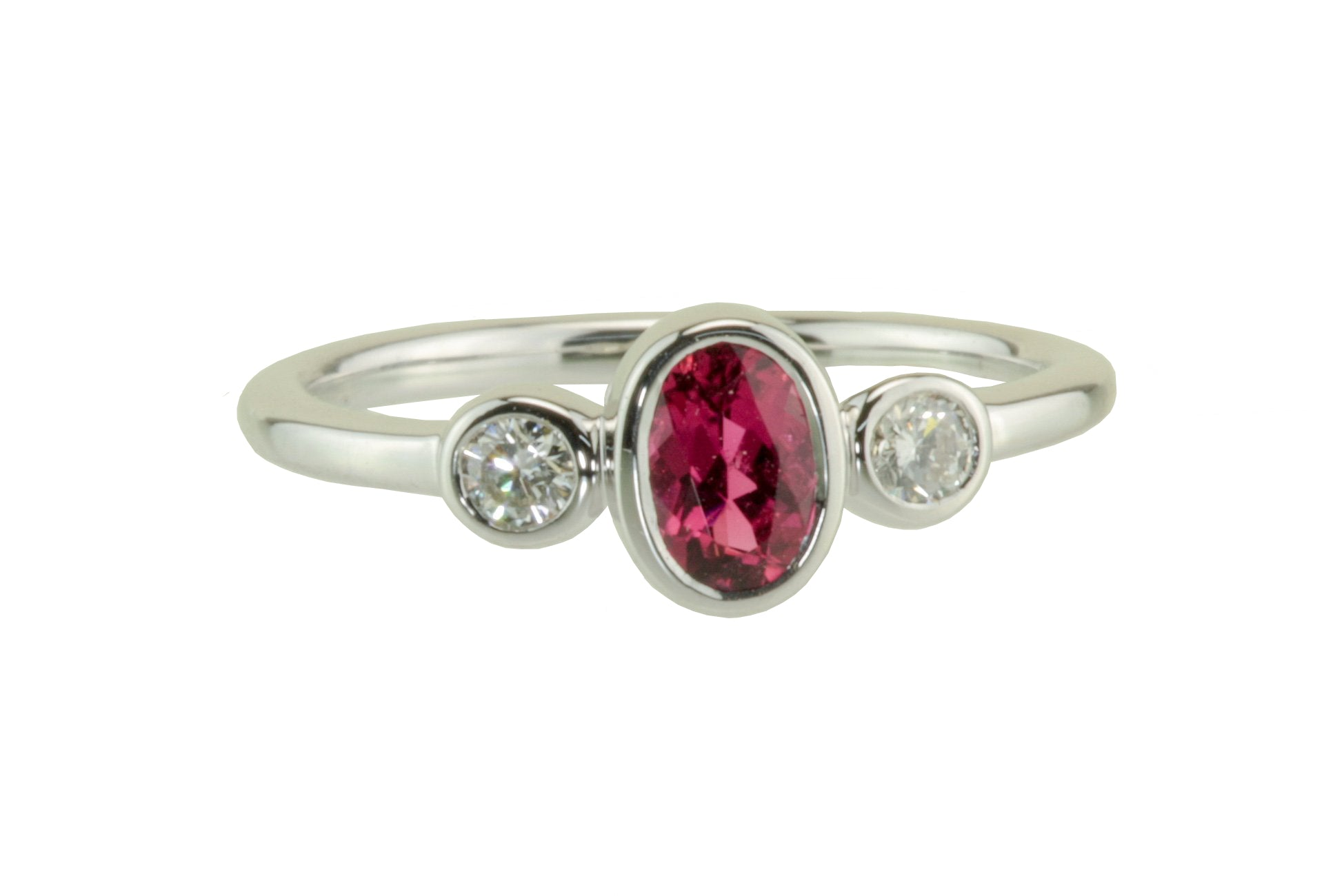 Tourmaline and Diamond Bezel Set 18kt White Gold Ring