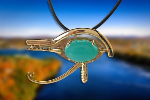 14KT Eye of Horus with Silica Chrysocolla
