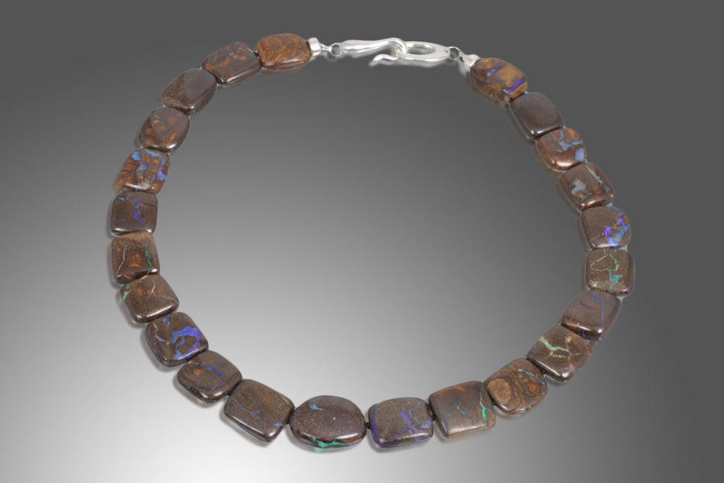 "23"" Boulder & Opal Sterling Silver Necklace"