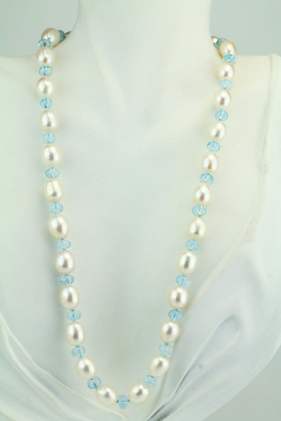 Aquamarine and Freshwater Pearl Sterling Necklace 18.5""