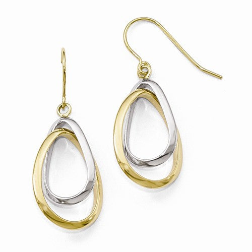 Leslies 14kt Two-Tone Polished Dangle Earrings