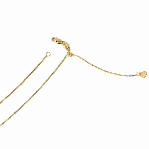 14kt Yellow Gold Adjustable .85mm Wheat Chain