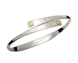 Ed Levin Sterling Silver and 14kt Gold Square Swing Bracelet