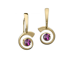 Ed Levin 14kt Gold Nautilus Gemstone Earrings