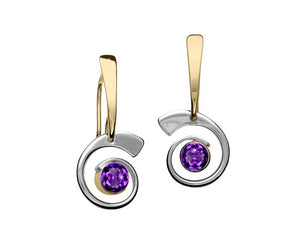 Ed Levin Sterling Silver & 14kt Gold Nautilus Gemstone Earrings