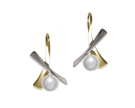 Ed Levin Minuet Sterling Silver and 14kt Gold Earrings