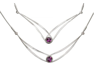 Ed Levin Sterling Silver Gemstone Swing Necklace