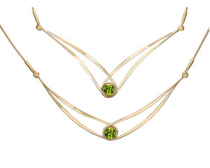 Ed Levin 14kt Gold Gemstone Swing Necklace