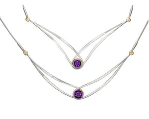 Ed Levin Sterling Silver and 14kt Gold Gemstone Swing Necklace