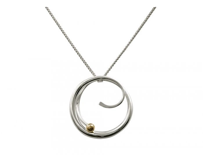 Ed Levin Sterling Silver and 14kt Gold Bindu Pendant