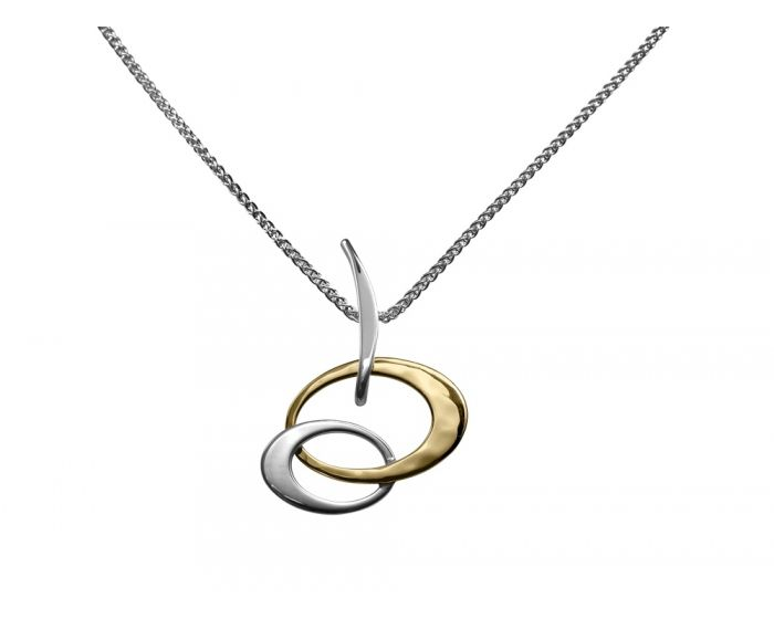 Ed Levin Sterling Silver and 14kt Gold Overlay Petite Entwined Elegance Pendant