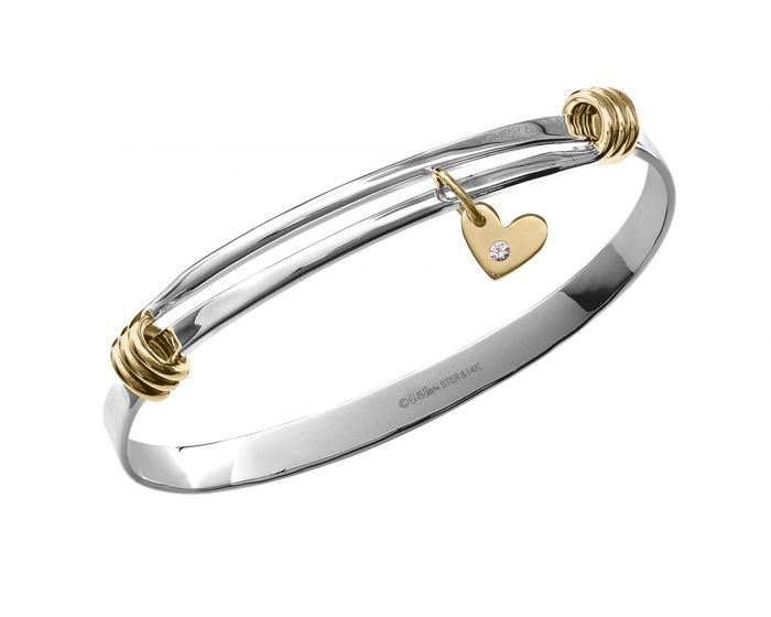 Ed Levin Charming Signature Sterling Silver and 14kt Gold Bracelet