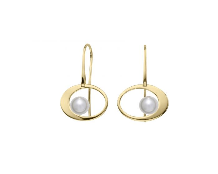 Ed Levin 14kt Gold Paper Moon Pearl Earrings