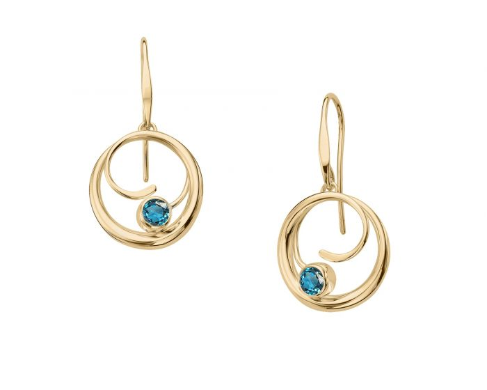 Ed Levin 14kt Gold Bindu Dangle Gemstone Earrings