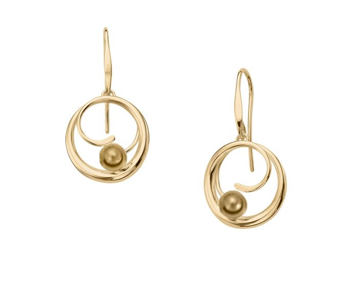 Ed Levin 14kt Gold Bindu Dangle Earrings
