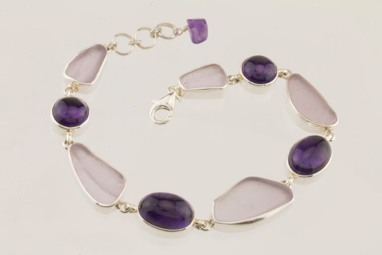 Lavender Sea Glass and Amethyst Sterling Silver Bracelet