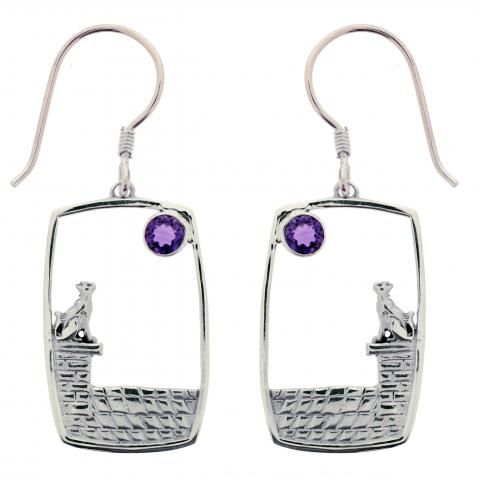 Amethyst Cat and Moon Sterling Silver Earrings