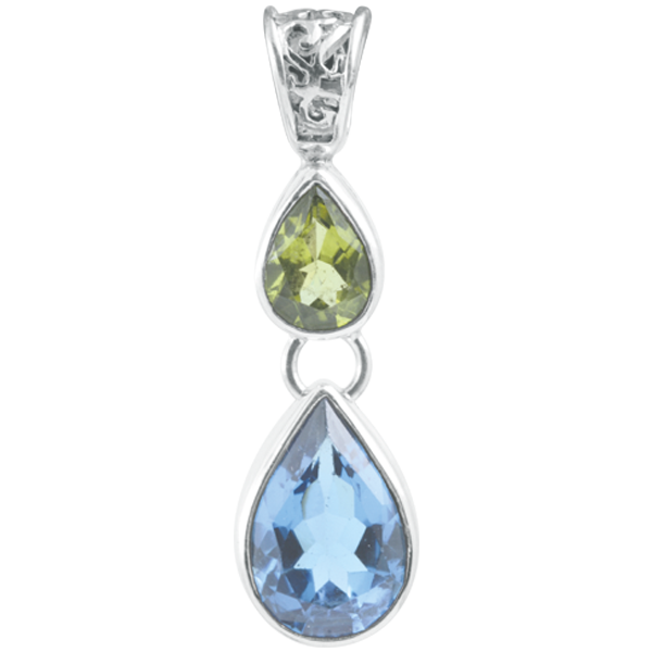 Blue Topaz and Peridot Sterling Silver Pendant