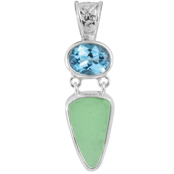Blue Topaz and Sea Glass Sterling Silver Pendant