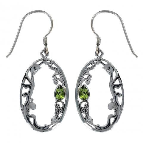 Peridot Ornate Frame Sterling Silver Earrings