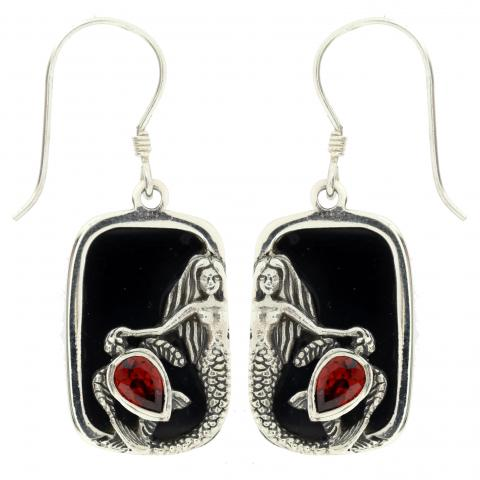 Garnet and Shell  Sterling Silver Earrings