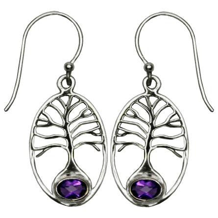 Tree of Life Amethyst Earrings