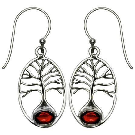 Tree of Life Garnet Sterling Silver Earrings