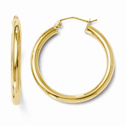 Leslies 14kt Polished Yellow Gold Hoop Earrings -  3mm Thickness