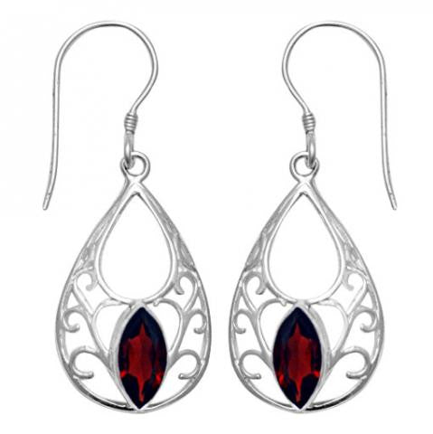 Garnet Sterling Silver Earrings