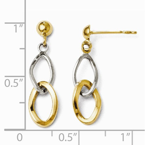 Leslies 14kt Two-Tone Polished Post Dangle Earrings