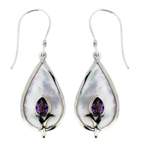 Amethyst and Mother of Pearl Sterling Silver Earrings