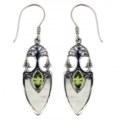 Peridot & Mother Of Pearl Sterling Silver Earring