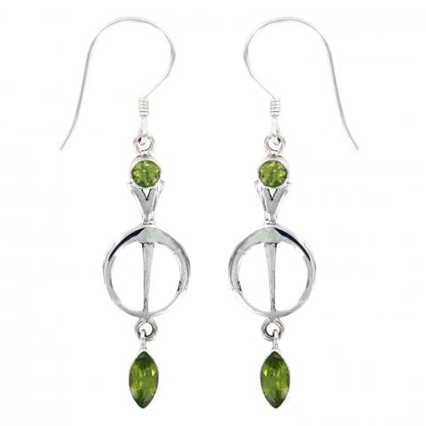 Peridot Silver Drop Earring
